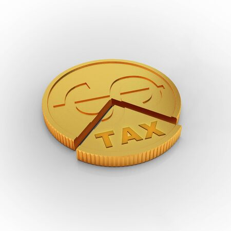 Cutting coin in tax payment concept - 3d rendering