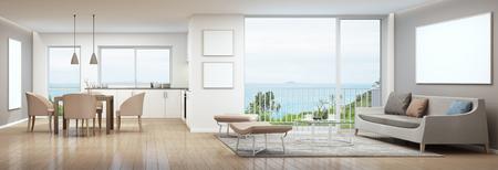 sala, comedor y cocina en la casa de lujo con el cuadro blanco que vive marco representación 3D