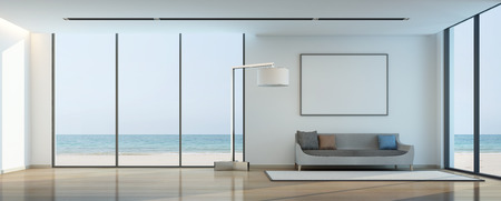 sea view living room with white picture frame- 3D rendering 스톡 콘텐츠