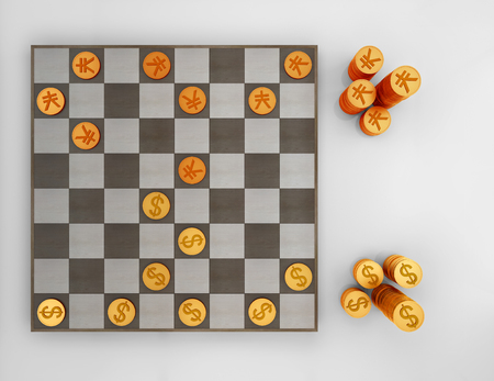 chess board: Coins on chess board - 3D rendering