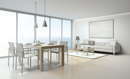 Sketch design of sea view living room and dining room in luxury house- 3D rendering 스톡 콘텐츠