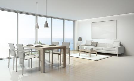 Sketch design of sea view living room and dining room in luxury house- 3D rendering 版權商用圖片