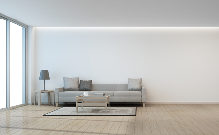 Sofa and coffee table near glass door in white wall living room- 3d rendering