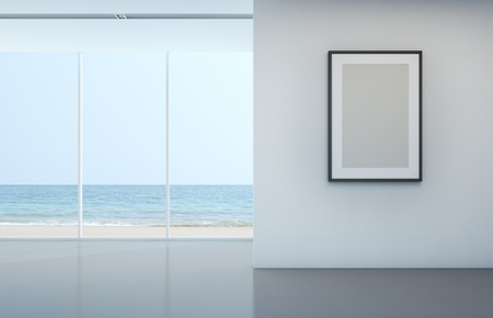 Sea view room with blank picture frame on white wall - 3D rendering