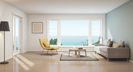 Scandinavian sea view living room in luxury house- 3D rendering