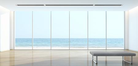 Sea view living room in modern house - 3D rendering