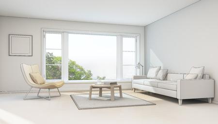 architect: Interior sketch design, living room in modern house - 3D rendering