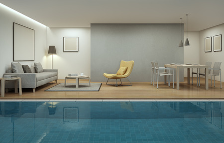 3d swimming pool: living room, dining room and swimming pool in modern house - 3d rendering
