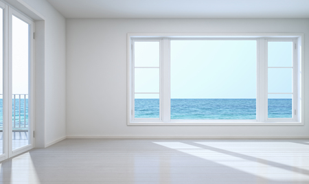 Empty room sea view with clipping path for background - 3D rendering