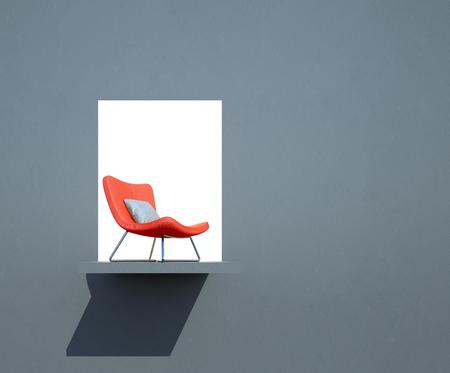 silla roja pendientes en concepto de éxito - la representación 3d