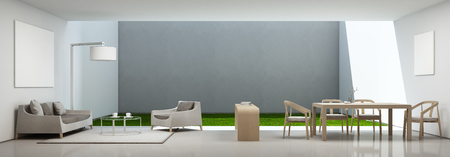 living room and dining room in modern house with white picture frame - 3D rendering 版權商用圖片