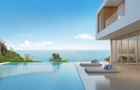 mar: Casa de playa con piscina de diseño moderno - representación 3d Foto de archivo