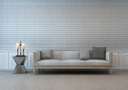 classic living room: old style living room with textile wall - 3d rendering