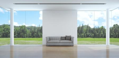green garden view living room interior in modern house - 3D rendering