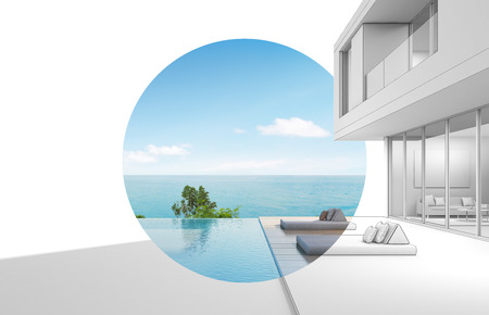 Architecture design of sea view modern house - 3D rendering
