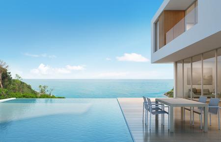 바다보기 현대적인 디자인 -3d 렌더링에 비치 하우스