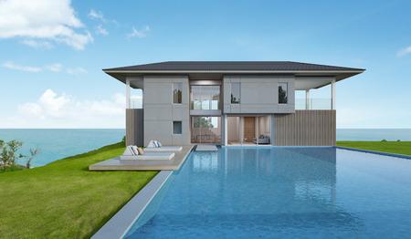Beach house en een zwembad met uitzicht op zee in een modern design - 3D-rendering