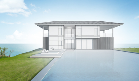 Sketch design of modern beach house and pool - 3d rendering Фото со стока