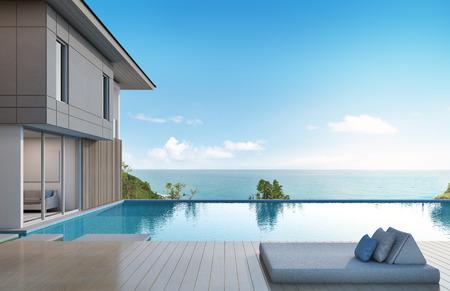 vista mare casa con piscina in un design moderno - rendering 3D Archivio Fotografico