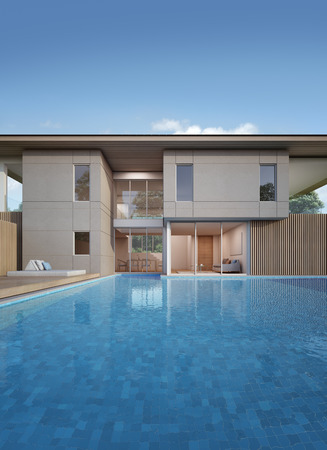 House with pool in modern design - 3d rendering Stock Photo