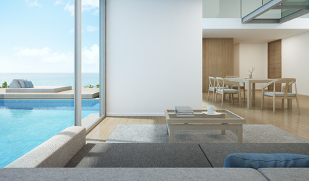 Sea view living room and dining room in modern pool house - 3D rendering