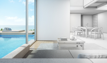 Sketch design of sea view interior in modern pool house - 3D rendering