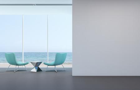현대 집 -3D 렌더링에 흰 벽 바다보기 거실