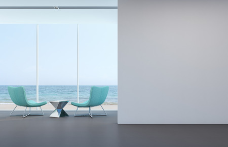 Sea view living room with white wall in modern house - 3D rendering