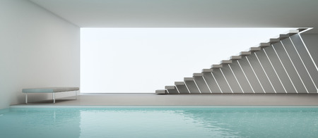 3d swimming pool: modern house interior with swimming pool and white wall - 3D rendering