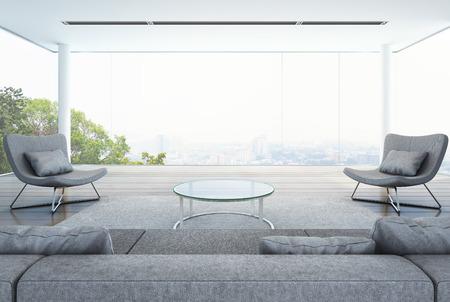 현대적인 건물에 거실, 도시 배경 흰색 인테리어 - 3D 렌더링