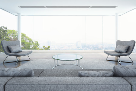 living room in modern building, white interior with city background - 3D rendering