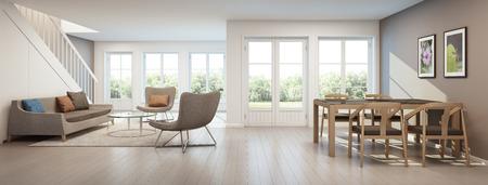 현대 집에서 룸과 식당 거실, 홈 인테리어 - 3D 렌더링