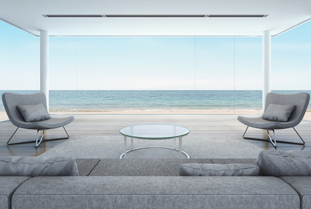 living room in beach house, modern interior with sea view - 3D rendering