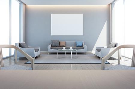 sala de estar y comedor en casa moderna con marco de arte - 3D