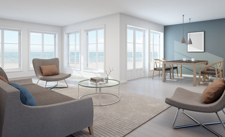 Sea view living and dining room in modern beach house - 3D rendering