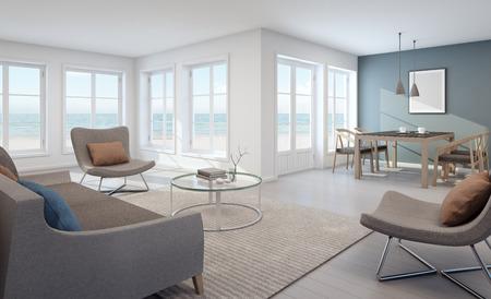 Vista mare soggiorno e sala da pranzo in casa moderna spiaggia - rendering 3D Archivio Fotografico