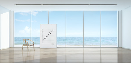 beach front: Tourism business concept graph in sea view room, Beach front - 3D rendering