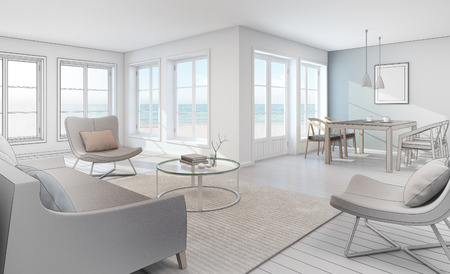 Sketch design of sea view interior in modern beach house - 3D rendering