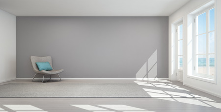 Sea view living room in modern beach house, Summer home - 3D rendering