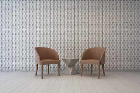 Weißer Innenraum mit Wanddekorationsmuster und -sesseln, Wohnzimmer - Wiedergabe 3d