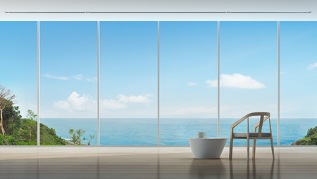 Coffee time in luxury sea view interior of modern home - 3d rendering