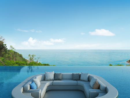 lounge: Lounge and swimming pool in luxury sea view hotel - 3d rendering