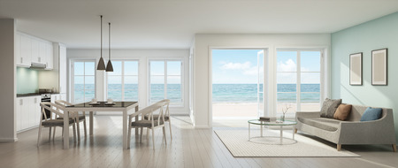 lifestyle: Sea view living room, dining room and kitchen, Beach house - 3D rendering