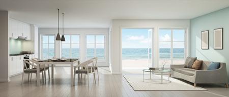 Vista mare soggiorno, sala da pranzo e cucina, casa sulla spiaggia - rendering 3D Archivio Fotografico