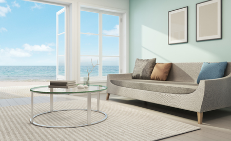 Sea view living room in beach house - 3D rendering 스톡 콘텐츠