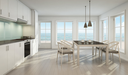 Sea view dining room and kitchen in beach house - 3D rendering