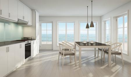 Sala da pranzo e cucina di vista del mare nella casa della spiaggia - rappresentazione 3D