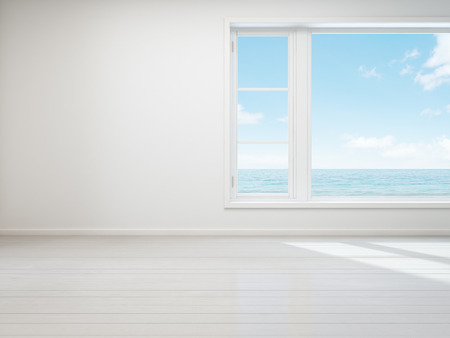 Vintage white room with  window in new home, Beach house - 3D rendering 스톡 콘텐츠