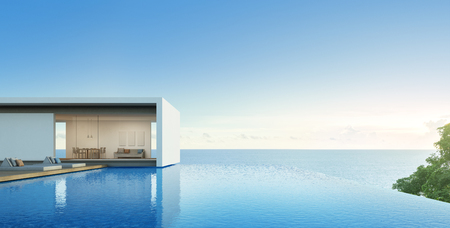 Sea view house with pool in modern design, Luxury villa - 3d rendering