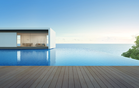 holiday villa: Sea view house with pool and terrace, Luxury holiday villa - 3d rendering